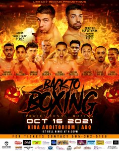 Legacy Promotions presents Back to Boxing @ Kiva Auditorium at the Albuquerque Convention Center